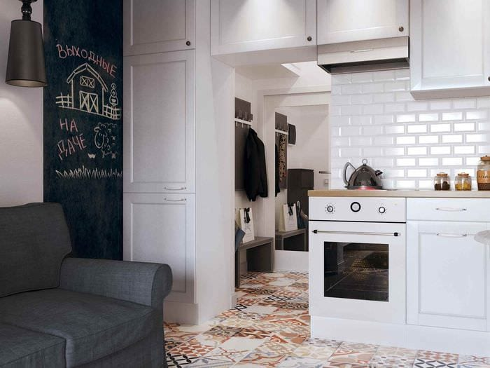 вариант яркого стиля квартиры студии 26 квадратных метров