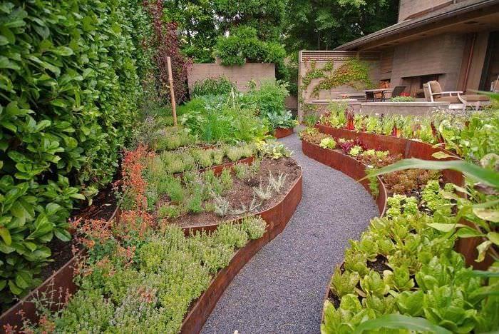 вариант яркого дизайна огорода на даче