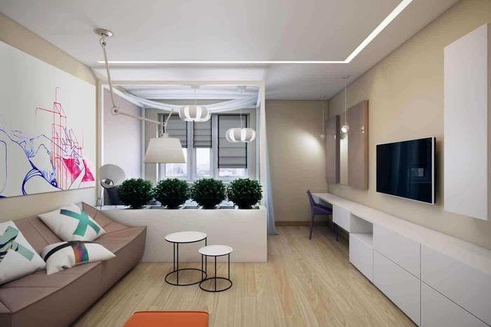 пример яркого дизайна гостиной спальни