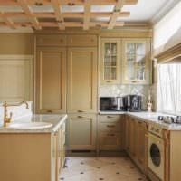 вариант необычного интерьера кухни в классическом стиле картинка