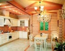 пример яркого стиля кухни в деревянном доме