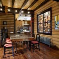 вариант красивого интерьера кухни в деревянном доме фото