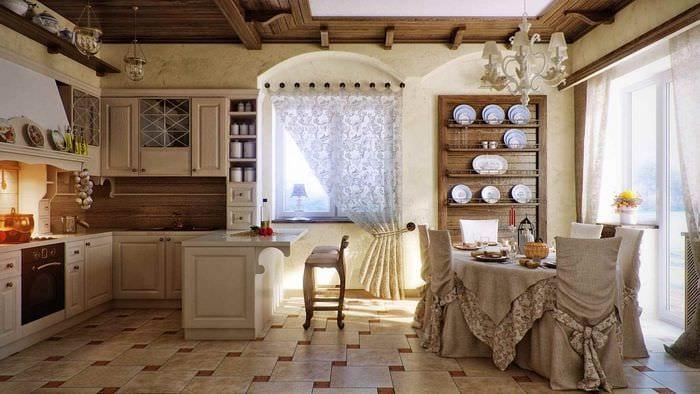 пример необычного декора кухни в деревенском стиле