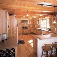 идея необычного декора кухни в деревянном доме фото