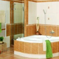 идея необычного дизайна укладки плитки в ванной комнате фото
