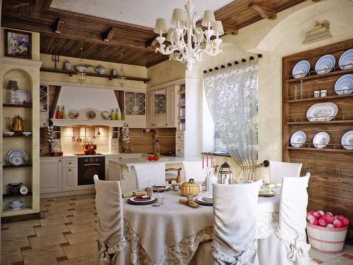 русский стиль кухни на даче