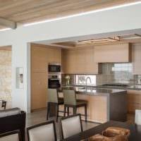 современный дизайн кухни столовой гостиной в частном доме