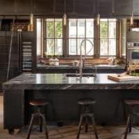 кухня в стиле лофт интерьер