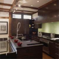 стильный интерьер кухня венге