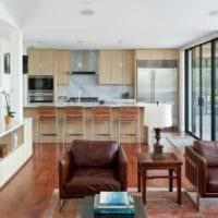 светлая кухня столовая гостиная в частном доме