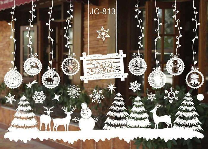 75 идей украшений на окна к Новому году: трафареты, гирлянды
