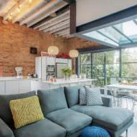 трендовый дизайн кухни столовой гостиной в частном доме