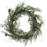 пример применения яркого дизайна новогоднего венка своими руками картинка