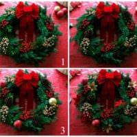 пример использования красивого дизайна новогоднего венка своими руками картинка