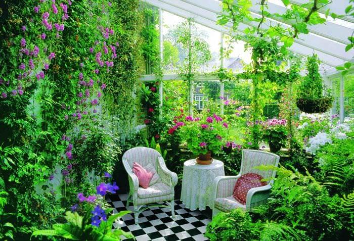идея использования светлых идей оформления зимнего сада