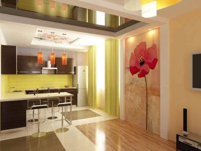 идея красивого декора кухни 13 кв.м