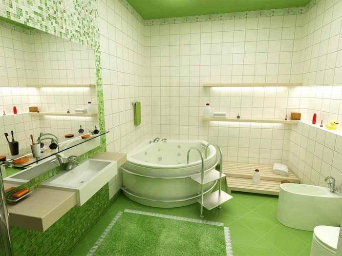 идея необычного декора укладки плитки в ванной комнате
