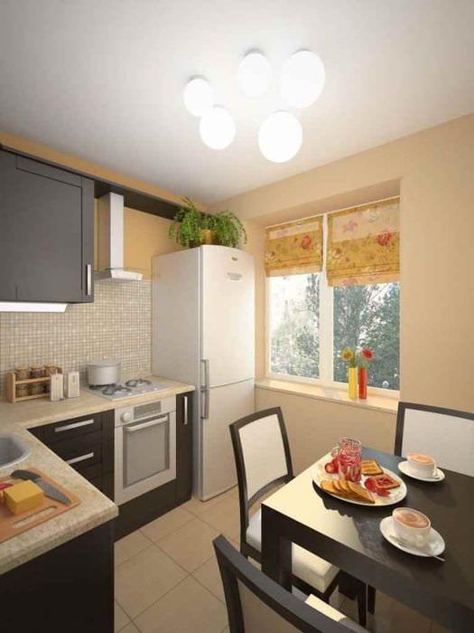 вариант красивого дизайна кухни 10 кв.м. серии п 44