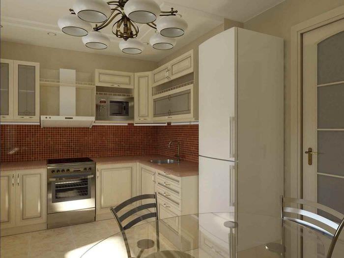 пример светлого интерьера кухни 12 кв.м