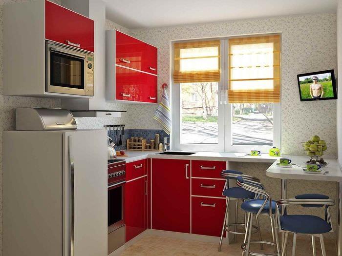 идея необычного дизайна кухни 7 кв.м