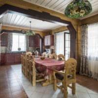 идея красивого интерьера кухни в деревянном доме картинка