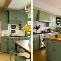 вариант яркого дизайна кухни в деревянном доме фото