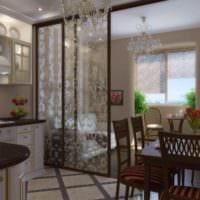 вариант необычного интерьера кухни в загородном доме картинка