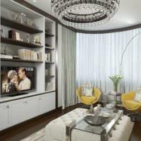 пример яркого дизайна гостиной спальни фото