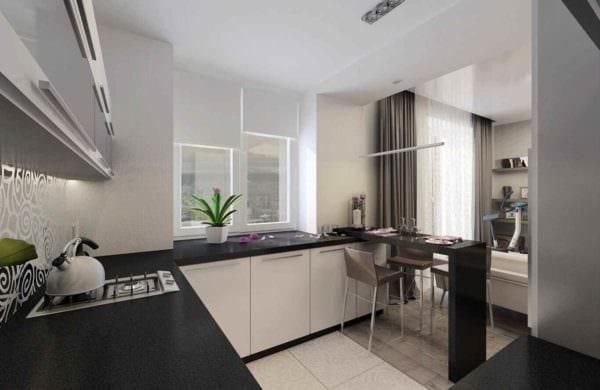 вариант яркого интерьера кухни 10 кв.м. серии п 44 картинка