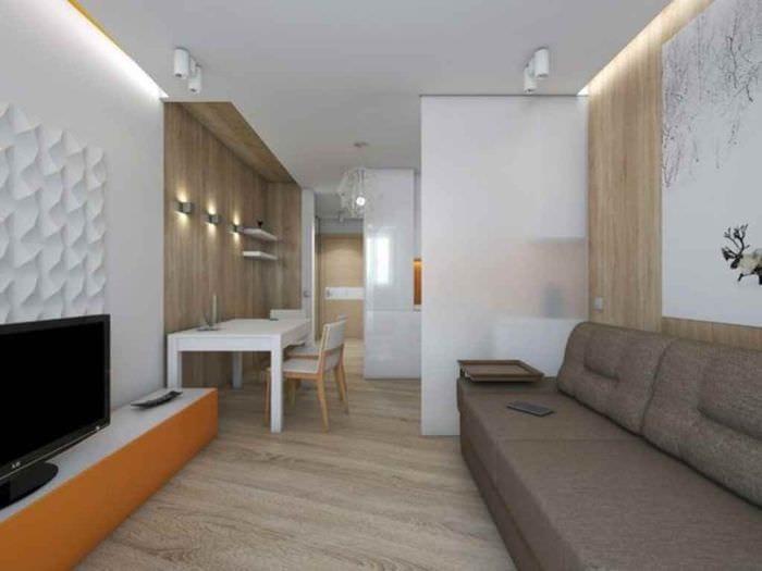 пример яркого декора студии 20 кв.м.