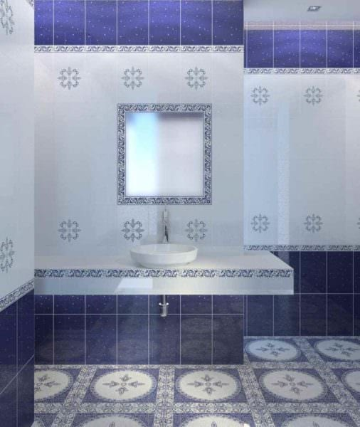 пример светлого интерьера укладки плитки в ванной комнате фото