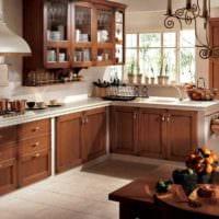 идея красивого дизайна кухни в деревенском стиле фото