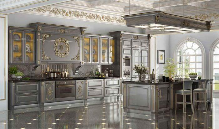 вариант необычного декора кухни в классическом стиле