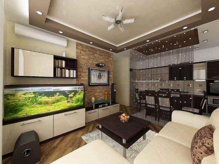 пример светлого дизайна гостиной 15 кв.м