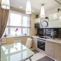 вариант светлого дизайна кухни 10 кв.м. серии п 44 фото