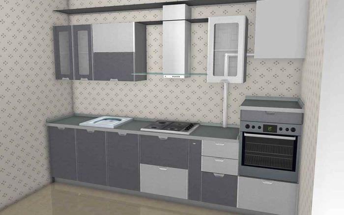 вариант светлого дизайна кухни с газовой колонкой