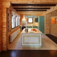 пример светлого интерьера кухни в деревянном доме картинка