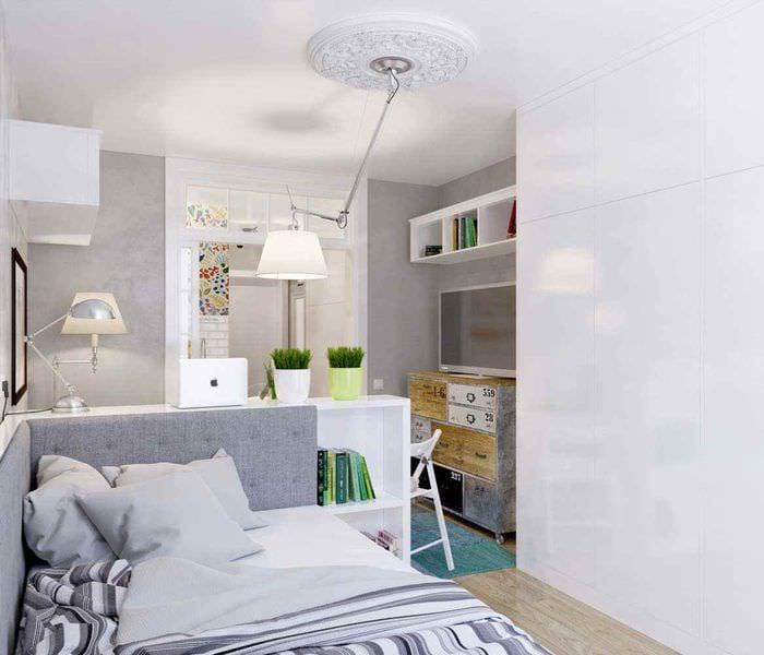вариант необычного интерьера квартиры студии 26 квадратных метров