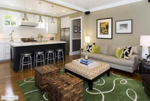 идея необычного стиля гостиной 15 кв.м картинка