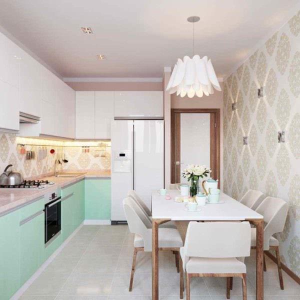вариант необычного стиля кухни 10 кв.м. серии п 44 фото