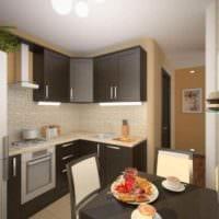 вариант яркого декора кухни 11 кв.м фото