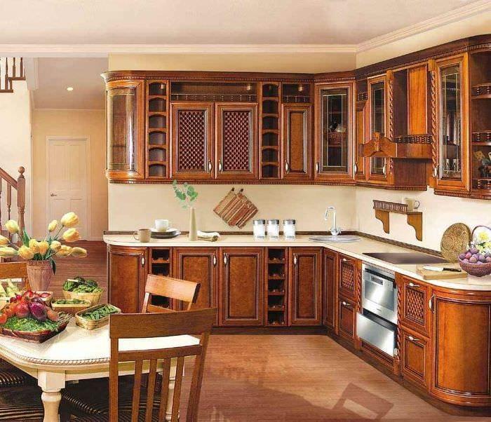 идея необычного декора кухни в классическом стиле