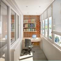 дизайн маленького балкона кабинета
