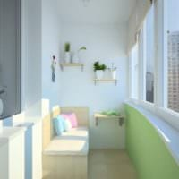 вариант необычного дизайн маленького балкона
