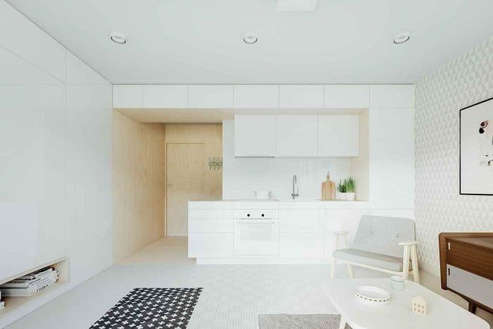 идея светлого дизайна студии 20 кв.м.