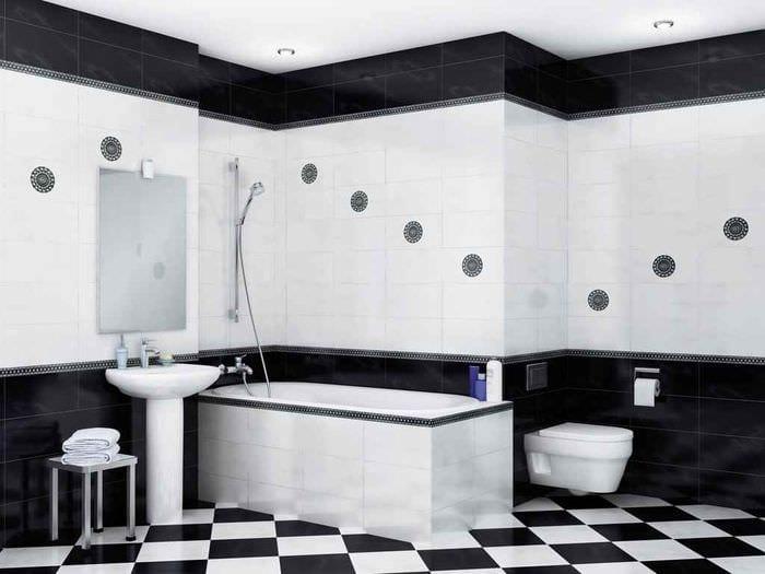 вариант яркого интерьера укладки плитки в ванной комнате