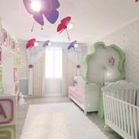 вариант необычного декора детской комнаты для девочки картинка