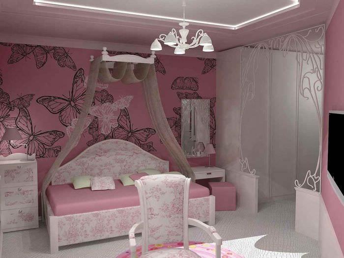 пример яркого стиля детской комнаты для девочки