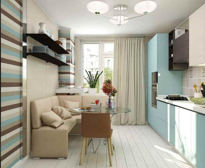 пример яркого стиля кухни 12 кв.м
