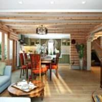 пример красивого дизайна кухни в деревянном доме фото
